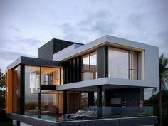 Houses by homify is part of Modern house exterior - Here you will find photos of interior design ideas Get inspired! Modern House Facades, Modern Architecture House, Modern House Plans, Modern Houses, Architecture Plan, Modern Villa Design, Modern Contemporary House, Modern Glass, House Front Design