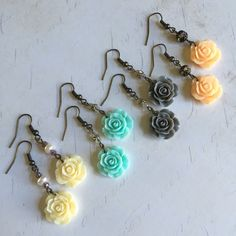 New in the shop! Romantic vintage style delicate rose dangle earrings .