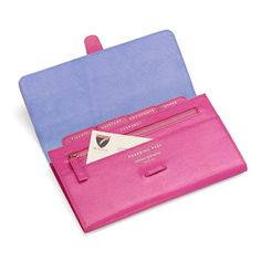 Classic Travel Wallet in Raspberry Lizard & Pale Blue Suede from Aspinal of London $195