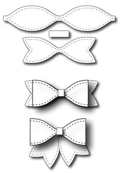 Frantic Stamper - Precision Dies - Small Solid Paper Bow-Our small bow measures wide without the tails, or wide with the tails. This bow Diy Hair Bows, Diy Bow, Felt Crafts, Paper Crafts, Diy Crafts, Bow Template, Frantic Stamper, Bow Pattern, Felt Bows