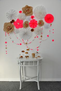 Paper flower wall art.