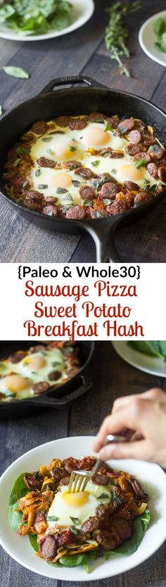 Paleo and whole30 sausage pizza breakfast hash with spiralized or shredded sweet potatoes and eggs baked right in. Seriously delicious and healthy!
