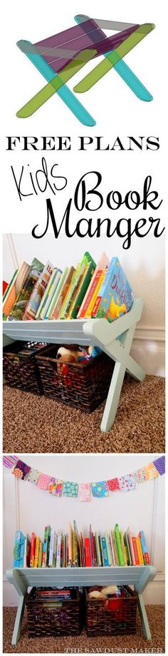 DIY Book Caddy Manger for kids book storage and organization {The Sawdust Maker . DIY Book Caddy M Woodworking For Kids, Woodworking Projects, Diy Projects, Childrens Book Shelves, Diy Rangement, Toy Rooms, Toy Organization, Organizing, Diy For Kids