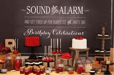 Feuerwehrmann Party zum Kindergeburtstag - tolle Ideen // Fireman Birthday party ideas I love the saying for invitations & on the wall behind his cake // Fireman Party, Firefighter Birthday, Boy Birthday, Birthday Parties, Fireman Sam, Fireman Kids, Birthday Signs, Birthday Celebration, Birthday Ideas