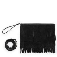Hope bag with black suede fringes <3 #leowulff #black #bag