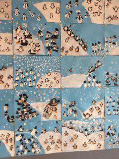 penguins and snowmen! Christmas Art, Winter Christmas, Winter Holidays, Winter Art Projects, Winter Project, Winter Activities, Art Activities, Arte Elemental, Art For Kids