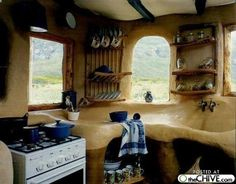 Straw Bale House Inside, Up Close Look at a Kitchen