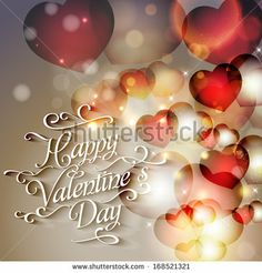 Happy Valentine's Day Hand Lettering - Typographical Background by Wedding invitation cards, via ShutterStock