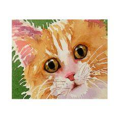 "Cat Art Watercolor Painting Print Big Yellow Eyes Orange White Face Cute Kitten Women Kids Teen Girls 5"" x 7"" Priced Under 25. $17.00, via Etsy."
