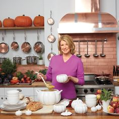 Martha Stewart & Pumpkin Tureens for Halloween & Thanksgiving Martha Stewart Thanksgiving, Martha Stewart Home, Thanksgiving Celebration, Thanksgiving Tablescapes, Vegetarian Thanksgiving, Thanksgiving Recipes, Fall Home Decor, Autumn Home, Pumpkin Decorating