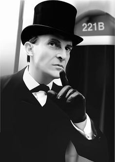 Jeremy Brett, as Sherlock Holmes, wearing a bow tie in the most crisp, clean, and refined manner--the top hat merely adds more elegance.