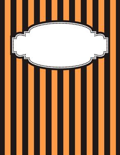 Free printable orange and black striped binder cover template. JPG and PDF versions available. Binder Cover Templates, Binder Covers, Notebook Covers, Halloween Tags, Halloween Prints, Printable Designs, Free Printable, Printables, Eid Stickers