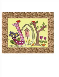 ACEO Original Art Card JOY  Spiritual Art by CalligraphicArtisan, $7.00