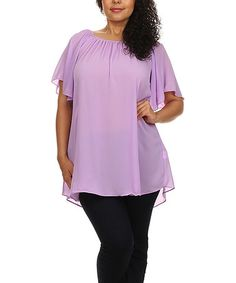 Love this Lilac Gathered-Neck Tunic - Plus by BellaBerry USA on #zulily! #zulilyfinds