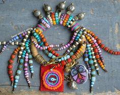 Boho EthnicHippie necklace Cowrie shell Wood by BeadStonenSkin