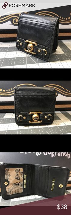 Juicy Couture Black w Brass BiFold Leather Wallet Juicy Couture Black w Brass BiFold Leather Wallet Juicy Couture Bags Wallets