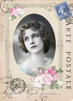 Vintage woman postcard digital collage p1022 Free to use