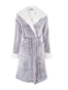 Snuggle up in this cosy dressing gown. This purple fluffy robe features a long  sleeve design with a hood and pockets bf4ee5b61