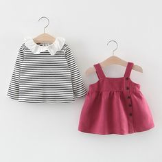 Baby / Toddler Sweet Striped Doll Collar Blouse and Suspender Dress Set Little Fashion, Baby Girl Fashion, Kids Fashion, Baby Outfits Newborn, Toddler Outfits, Kids Outfits, Sewing Baby Clothes, Suspender Dress, Stylish Girl Images