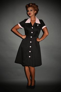 3d7c87aed4a 1950 s American Diner style Ava House Dress in Black  amp  Pink 1950  American Diner