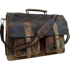 TUZECH Inch Genuine Retro Buffalo Hunter Leather Laptop Messenger Bag Office Briefcase College Bag Leather Bag for Men and Women Leather Laptop Bag, Leather Briefcase, Men's Briefcase, Leather Crossbody, Vintage Leather, Leather Men, Leather Bags, Handmade Leather, Leather Backpacks