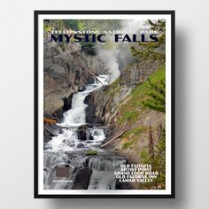 Yellowstone National Park Poster-Mystic Falls