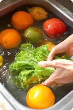 Wash Vegetables & Fruits with Vinegar (Vinegar kills bacteria and cleans toxic substances on Fresh Foods.) 1) Put some cold water in a big bowl and add one Little coffee cup of vinegar. 2) You must clean Vegetables and Fruits under the water. 3) and put all of them in this big bowl. 4) Wait 15 minutes and clean them under water again... and now your fresh food is ready.