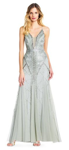 b7dffdc53a0e Adrianna Papell | Stone Beaded Godet Gown with Illusion Plunging Neckline  Chic Dress, Prom Dresses