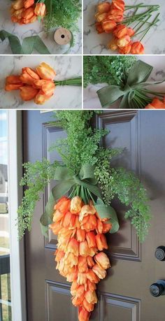 Dress Up Your Front Door Using This Spring Carrot Wreath #outdoorholidaydecorations #BedTime