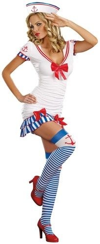 Amorous Jazzy Sailor Pin-Up Costume..! New Sexy Sailor Pin-Up Adult Costume For Halloween