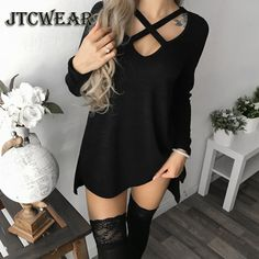 Women Autumn and Winter Fashion Long Sleeve Tops Black Casual Knitted Sweater Dresses Ladies Fashion Loose Mini Dress Pure Color Cotton Shirt Sexy Deep V-Neck Slim Fit Waist Bodycon Club Wear Knit Slit Party Robe Chic FemmeT-shirt Dress Knit Sweater Dress, Shirt Dress, Sweater Dresses, Spring Dresses Casual, Elegant Dresses, Sexy Dresses, Dress Casual, Formal Dresses, Wedding Dresses