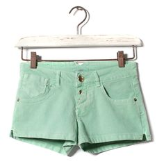 Designer Clothes, Shoes & Bags for Women Mint Green Shorts, Pretty Outfits, Pretty Clothes, Color Shorts, Basic Colors, Trousers Women, Casual Shorts, My Style, Polyvore