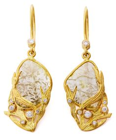 Laurie Kaiser Lemongrass Earrings in rustic diamond slices, brilliant cut diamonds and 18k yellow gold.