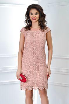 rochie scurta din dantela roz pudra croi drept Short Sleeve Dresses, Dresses With Sleeves, Fashion, Moda, Sleeve Dresses, Fashion Styles, Gowns With Sleeves, Fashion Illustrations