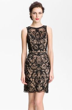 Sue Wong Embroidered Overlay V-Back Sheath