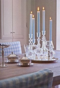 Great idea for Christmas center piece, silver tray (have it!) glass candle holders from Goodwill and blue candles to match my china on my blue and white check tablecloth.