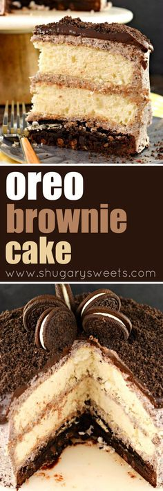Oreo Brownie Cake: 3 layers with buttercream frosting ~ Shugary Sweets