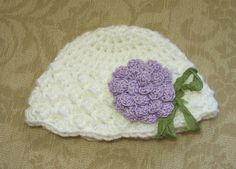Baby Girl Hat, Newborn Beanie, Baby Girl Photo Prop, White Bonnet, Lavender Flower, Baby Shower Gift, Free US Shipping by dreamfancies on Etsy
