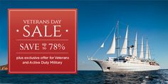 Veterans Day Sale - Voyage to the world's most stunning harbors, iconic landmarks and secluded coastlines in private yacht style. This week only: enjoy exclusive Veterans Day savings of up to 78% on cruises from the isles of Greece to the tropics of Tahiti and more. All fares include an ocean-view stateroom, world-class dining and entertainment, and a complimentary local Private Event.   Veterans or those on active military duty will receive an additional $100 per person shipboard credit.