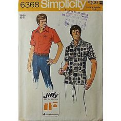 Mens Jiffy Shirt Simplicity 6368 Pattern Vintage 1974 Size 42-44 Sewing c422