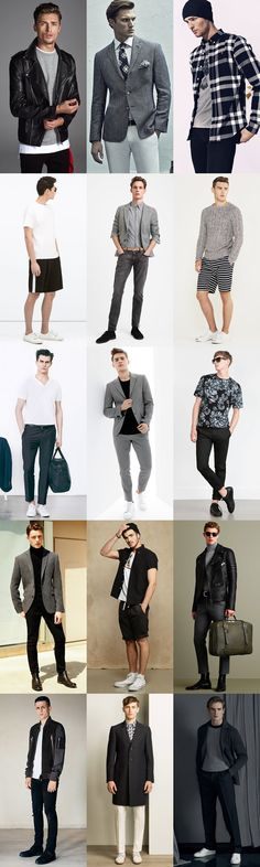 Key Menswear Colour Palettes: Black, White and Grey (Monochrome/Greyscale Palettes) Outfit Inspiration Lookbook