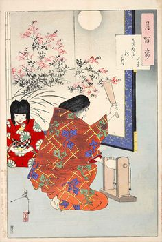 """Tsukioka Yoshitoshi: One Hundred Aspects of the Moon - # 84 """"Cloth Beating Moon"""" -- Yoshitoshi's '100 Aspects of the Moon' An aristocratic woman beats wrinkles out of cloth with a kintu to symbolize her desire for the return of her husband. The sound is associated with sadness and longing."""