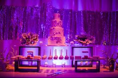 A small section of the amazing 16ft dessert bar decked out with delectable desserts from Sweet & Saucy shop.  Event design by Alchemy Fine Events
