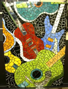 stained glass mosaic guitars | Mosaic Guitar Wall Hanging | Studio895 - Mosaics on ArtFire