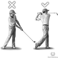Remember to perform a complete swing, i.e., one that also includes the last phase, the follow through. This is in contrast to golfers that view the impact as the last phase of the swing and more or less quit swinging past that point.