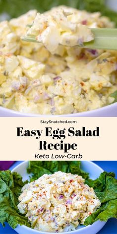 This Easy Keto Low-Carb Egg Salad is the perfect summer salad for any spread. This dish is made without avocado or pickles, but feel free to toss those in if you wish! I have even included tips for how to substitute mayo. salad with egg mayonnaise Best Egg Salad Recipe, Salad Recipes Video, Chicken Salad Recipes, Healthy Salad Recipes, Spicy Recipes, Low Carb Recipes, Chicken Egg Salad, Classic Egg Salad Recipe, Healthy Egg Salad