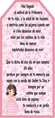 Oraciones Para Bautizo De Agradecimiento Quince Pictures, Sweet Fifteen, Sweet 15, Wish Quotes, Birthday Board, Happy Birthday Wishes, Birthday Quotes, Quinceanera, Kids And Parenting