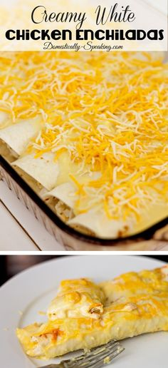 Creamy White Chicken Enchiladas  - perfect for those who don't love spicy.  It's a favorite recipe in our home!