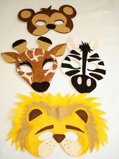 Animal Masks For Kids, Mask For Kids, Safari Party, Felt Crafts, Crafts For Kids, Arts And Crafts, Safari Animals, Felt Animals, Felt Toys