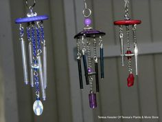 Blue and iridescent glass tubes Wind chime miniature 1:12 scale complete with Shepherds hook-Secret Garden wind chimes-OOAK hand made
